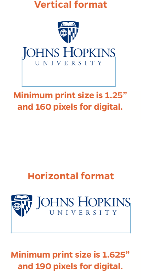Minimum size for vertical and horizontal logos